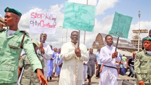 Catholic Bishop of Bomadi Diocese Most Rev Dr Hyacinth Egbebo leading Catholic faithful and other Christians during a peaceful protest against the killings by Herdsmen in Benue State and other Area on Tuesday (22/5/18) in Yenagoa, Bayelsa State.02706/22/5/2018/Anthony Okpu/ICE/NAN
