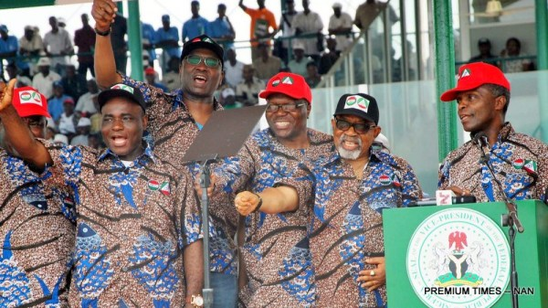 Vice President Yemi Osinbajo (R); Minister of Labour and Employment, Sen. Chris Ngige (2nd R); Secretary to the Government of the Federation, Boss Mustapha (3trd L); and President of Trade Union Congress, Comrade Bobboi Kaigama, during the 2018 May Day celebration in Abuja on Tuesday (1/5/18). 02273/1/5/2018/Albert Otu/JMH/BJO/NAN