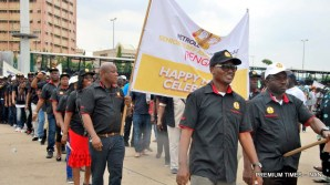 Petroleum and Natural Gas Senior Staff Association of Nigeria (PNGSSAN) members march during the 2018 May Day celebration in Abuja on Tuesday (1/5/18). 02274/1/5/2018/Albert Otu/JMH/BJO/NAN