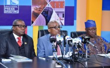 Chairman, Lagos State Sports Commission (LSSC), Mr. Kweku Tandoh (middle), flanked by Commissioner for Information & Strategy, Mr. Kehinde Bamigbetan (right) and Director General, LSSC, Mr. Babatunde Bank-Anthony (left) during a media conference by the Sports Commission, as part of the ongoing Y2018 ministerial press briefing to commemorate the third Year in Office of Governor Akinwunmi Ambode, at the Bagauda Kaltho Press Centre, the Secretariat, Alausa, Ikeja, on Tuesday, May 15, 2018.