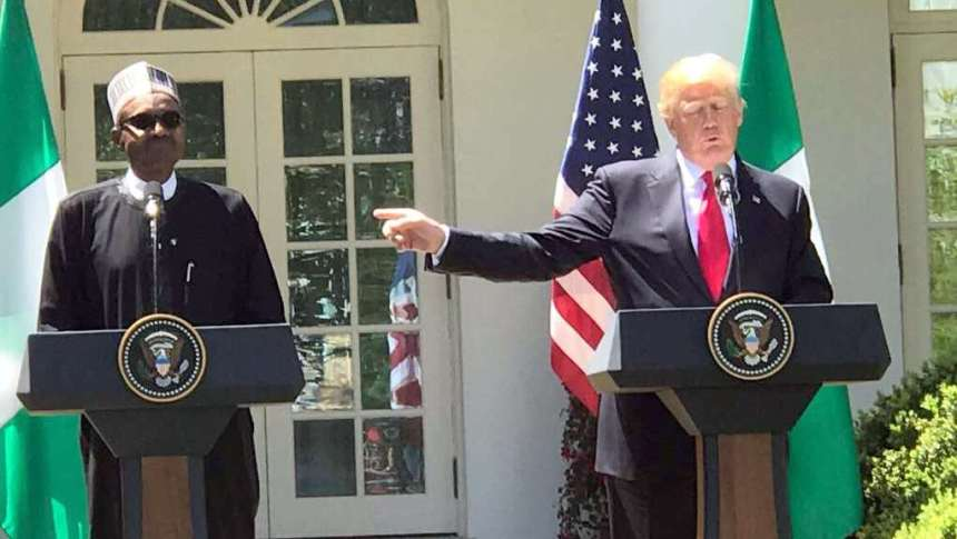 File photo of President Muhammadu Buhari's visit to President @realDonaldTrump in the Oval Office and Press Conference in the Rose Garden.