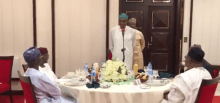 President MBuhari breaking the Ramadan fast with cabinet members and security chiefs