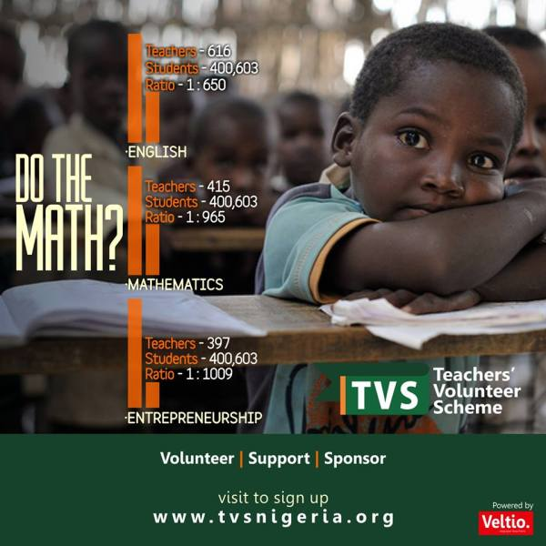 Teacher-student ratio in Akwa Ibom as published Teachers' Volunteers Scheme (TVS)