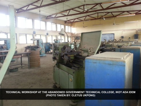 Technical workshop at the abandoned Government Technical College, Ikot Ada Idem