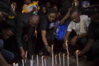Candlelight procession of late actress Omoge Campus. [Photo credit Ayodele Efunla/PM News]