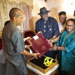 """Aso Villa Chapel presents Gov. Dickson a """"Legacy Bible"""""""