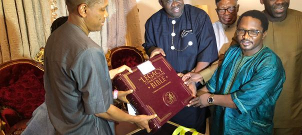 "Aso Villa Chapel presents Gov. Dickson a ""Legacy Bible"""
