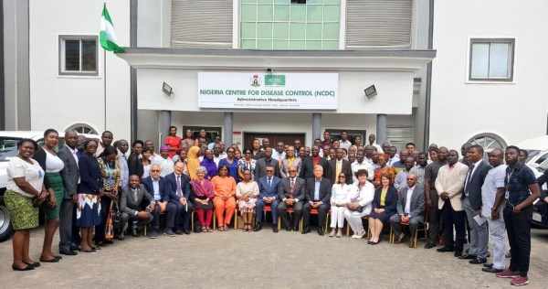 Group picture with the WHO DG, DDG, 6 Regional Directors and the NCDC Team