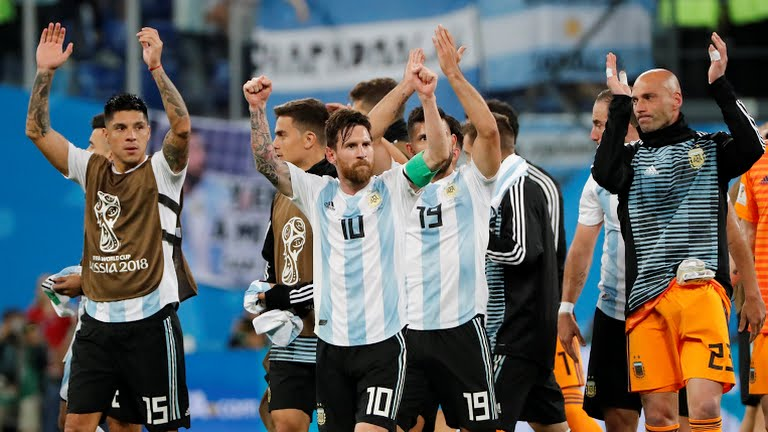 Argentina celebrates after winning the match against the Super Eagles