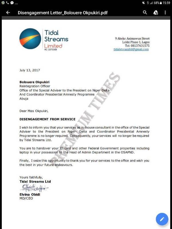 Bolouere Opukiri Disengagement Letter from Tidal Streams