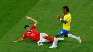 Brazil in action as Switzerland gets behind the ball