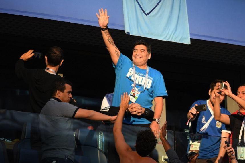 Diego Maradona at the Argentina vs Nigeria match