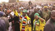 Emmerson Mnangagwa during a rally in Harare