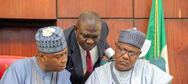 Senate President, Bukola Saraki, Deputy Senate President, Ike Ekweremadu and Speaker, Yakubu Dogara at the joint closed-door plenary of the National Assembly