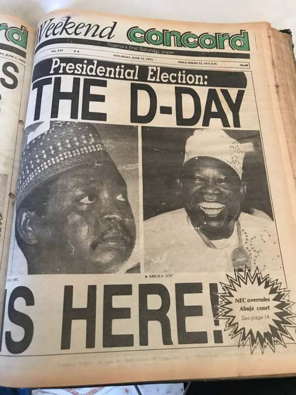 Front Page of Abiola's Concord Newspaper on the day of the historic June 12, 1993 election. Photo: Mike Awoyinfa