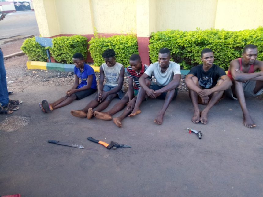Some members of the six man robbery and kidnapping syndicate that kidnapped, robbed and attempted to murder a businessman in Ebonyi State, Mr Monday Udoka Oke