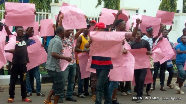 The protesters at the APC Secretariat