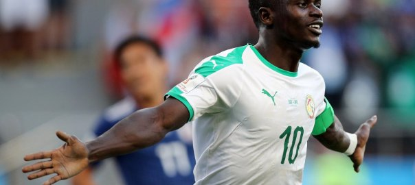Sadio Mane celebrates after scoring the first goal in Senegal's encounter with Japan