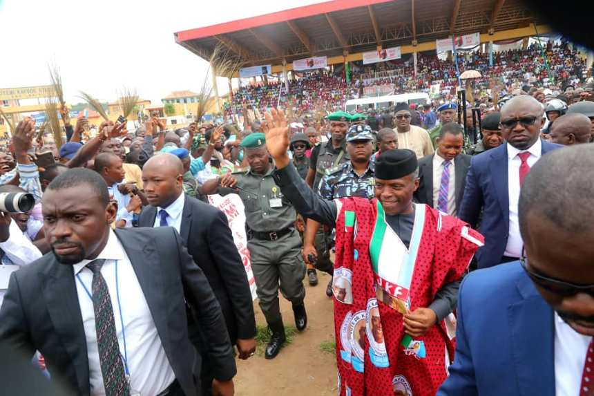 Vice President, @ProfOsinbajo in Ekiti for the flag off of the APC Gubernatorial Campaign for Dr. Kayode Fayemi.