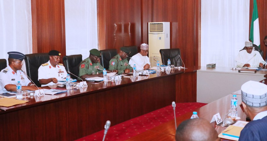 Pic 34. From left: Chief of the Air Staff, Air Marshal Sadique Abubakar; Chief of Naval Staff, Ibok Ekwe-Ibas; Chief of Army Staff, Lt.-Gen Tukur Buratai; Chief of Defence Staff, Gen Abayomi Olonisakin; Minister of Defence, Brig.-Gen Mansur Dan-Ali and President Muhammadu Buhari during a Security Meeting at Presidential Villa in Abuja on Tuesday (5/6/18)