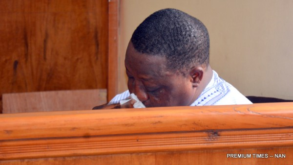 Former Governor of Plateau State, Sen. Joshua Dariye shed tears in court as he was sentenced to 14 year imprisonment for fraud and misappropriation of funds. 03248/12/6/2018/Hogan Bassey/NAN