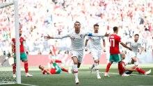 Ronaldo celebrates as he scores (Photo Credit: Reuters)