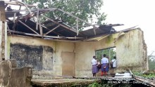Students inside unsafe structure at Ntiat and Mbak-1 Comprehensive Sec School, Itu