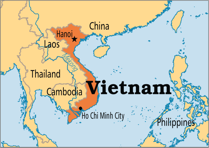 Vietnam on map