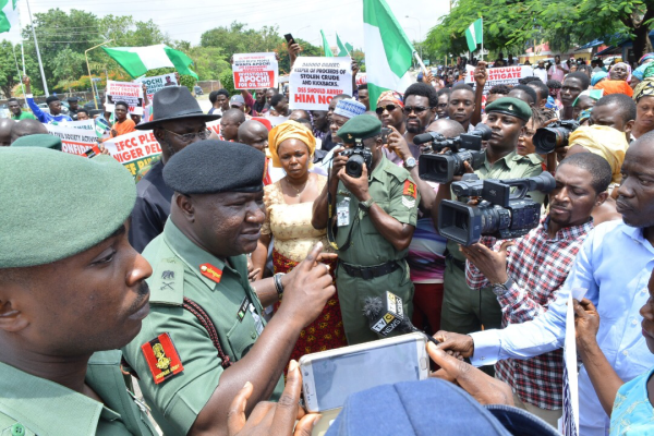 Niger Delta Youths protesting against the JTF Commander, Real Admiral , Apochi Suleiman at Defence Headquarters in Abuja last week