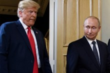 Donald Trump and Vladmir Putin during the Helsinki Summit