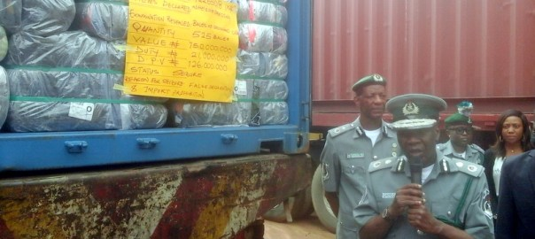 File photo of items impounded by Nigeria Customs (Photo by Kingsley Adeniyi, 07/25/2018)