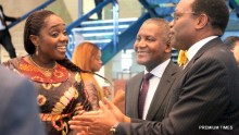 Minister of Finance, Mrs. Kemi Adeosun (left); President of Dangote Group, Alhaji Aliko Dangote and President of African Development Bank (AFDB), Dr. Akinwunmi Adesina, during the opening ceremony and Annual General Meeting of Afreximbank in Abuja on Saturday, 14th July, 2018.