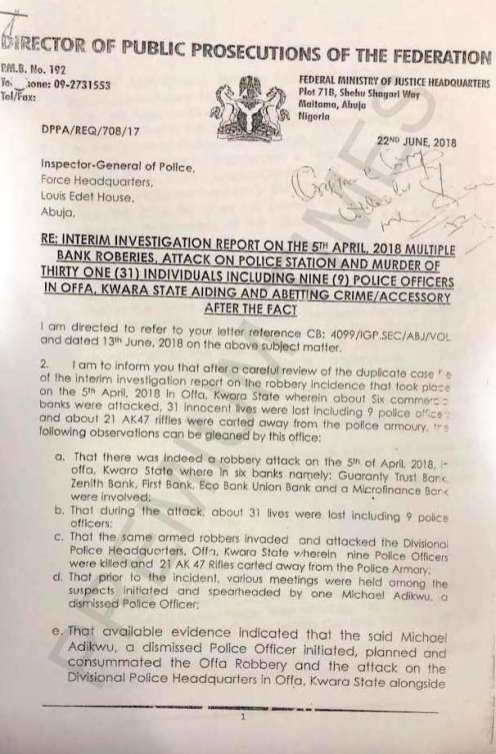 DPP Letter to IGP
