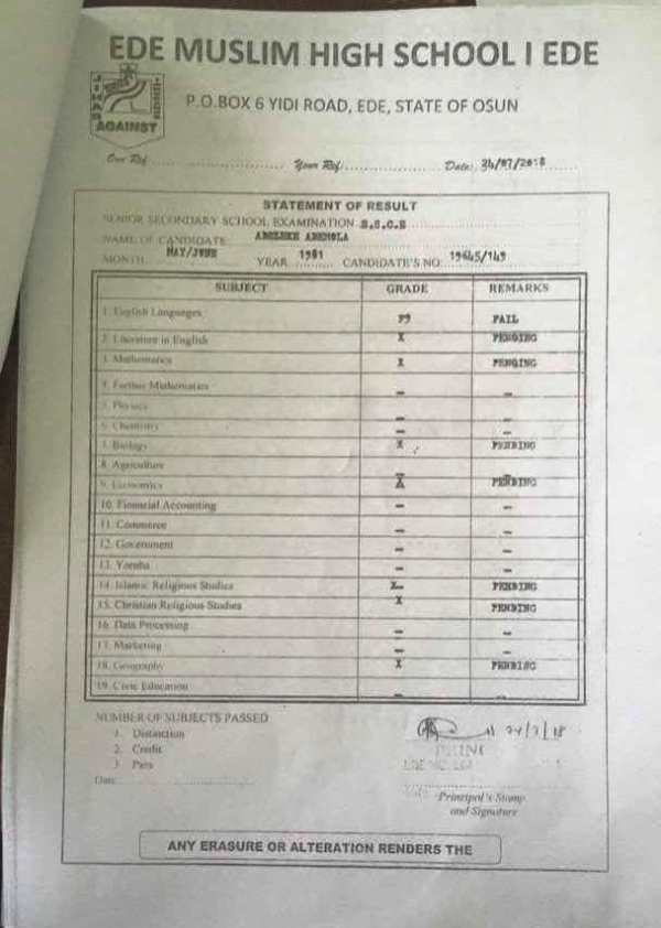 Ademola Adeleke's statement of result as presented to Osun High Court