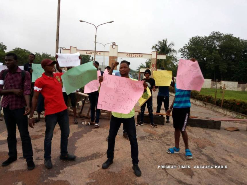 Some of the protesting students