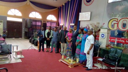 Minister of Trade and Investment, Okechukwu Enelamah in a group photograph at the skills acquisition and empowerment programme organised by The Everlasting Arms Parish (TEAP) under the Redeemed Christian Church of God (RCCG), Abuja