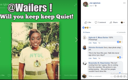 One of Joe Igbokwe's post showing a photoshopped image of Finance Minister, Kemi Adeosun on NYSC uniform