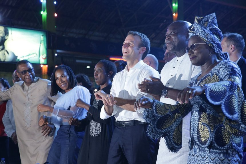 France President, Emmanuel Macron with Lagos State Governor, Akinwunmi Ambode at the launch of the 2020 African Cultural Season in Paris