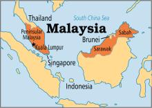 Malaysia on map