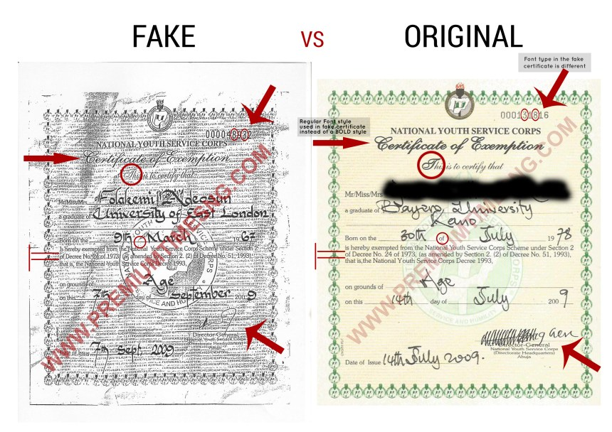 Compare Contrast Original And Fake Nysc Exemption Certificate For