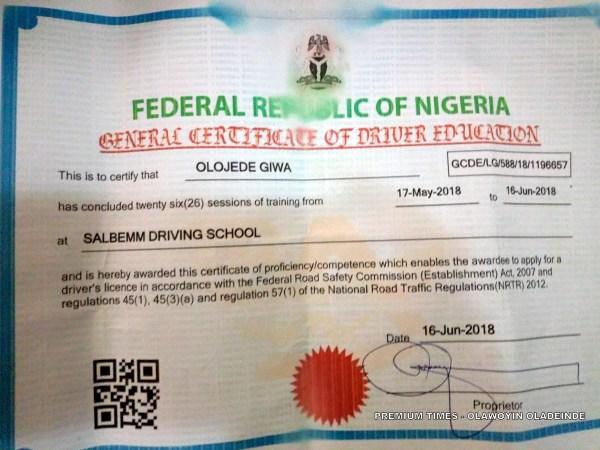 Olojede Giwa's Driving School Certificate