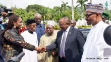 President Muhammadu Buhari (R) introducing Finance Minister, Kemi Adeosun to the visiting President of South Africa, Mr Cyril Ramaphosa at the Presidential Villa in Abuja on Wednesday (11/7/18) 03540/4/72018/Callistus Ewelike/NAN