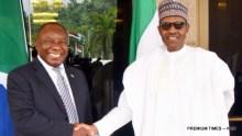 Pic 19. President Muhammadu Buhari (R) welcoming visiting President Cyril Ramaphosa of South Africa at the Presidential Villa in Abuja on Wednesday (11/7/18) 03704/4/72018/Callistus Ewelike/NAN