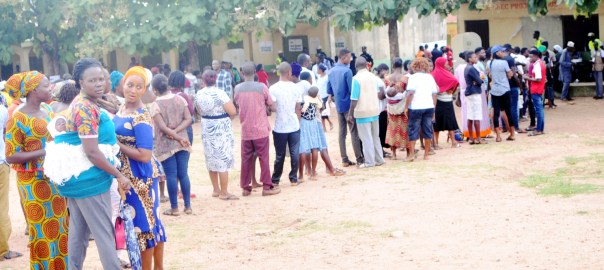 Pic 6. Voters queuing to cast their votes at Ajilosun, Ado Ekiti during the July 14th Governorship Election in Ado-Ekiti on Saturday (14/7/18). 03772/14/7/2018/Timothy Adeogodiran/ICE/NAN