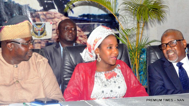 From left: Representative of Governor of Oyo State, Prof. Niyi Olowofela; Director, Dangote Group, Halima Aliko-Dangote and representative of Aliko Dangote, Mr Ahamed Manzor; at the University of Ibadan School of Business Eminent Person lecture delivered by Aliko Dangote in Ibadan on Wednesday (25/7/18). 04014/25/7/7/2018/Olayinka Bode-Are/MA/JAU/NAN
