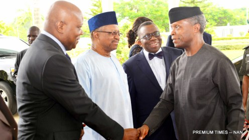 From left: Permanent Secretary, Federal Ministry of Industry, Trade and Investment, Mr Edet Akpan; Minister of State for Health, Dr Osagie Ehanire; Minister of Health, Prof. Issac Adewole; and Vice President Yemi Osinbajo, during the launch of the 'Patients' Bill of Rights' at the Banquet Hall of the State House in Abuja on Tuesday(31/7/18). 04113/31/7/2018/Ibrahim Sumaila/BJO/NAN