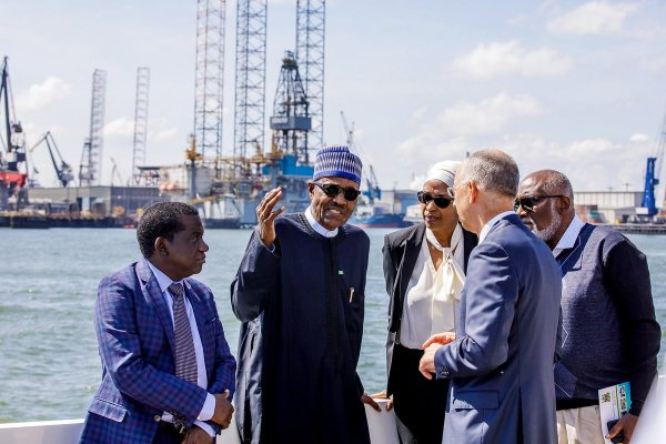 President Muhammadu Buhari in The Hague, Netherlands, toured Port of Rotterdam, with him, the CEO of the Port, Allard Castelein, Plateau State Governor, Simon Lalong, Ondo State Governor, Rotimi Akeredolu and MD of the NPA, Hadiza Usman Bala