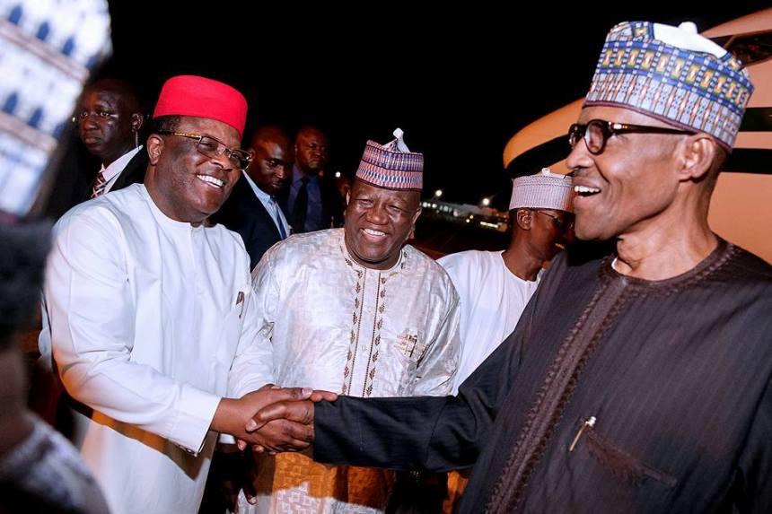 President Muhammadu Buhari with Ebonyi State Governor, David Umahi