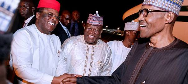 President Muhammadu Buhari with Ebonyi State Governor, David Umahi