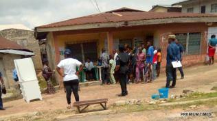 Ward 1, unit 004 near olowokere's house- ilogbo. Voting is going peacefully, although some of the electorates fingerprints is not coming up, they had to wash the hand. Efon Alaye LGA 11:48am
